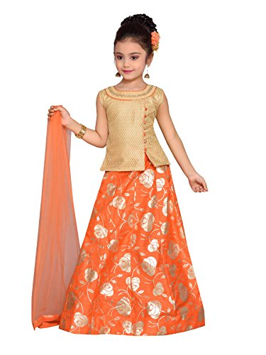 Adiva Girl's Party Wear Lehenga Choli Set for Kids (G_1016_ORANGE_32)
