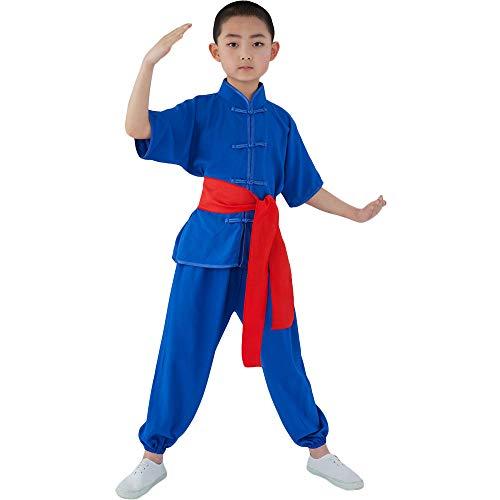 ZooBoo Kinder Kung Fu Uniform - Chinesische Kampfkunst Tai Chi Shaolin Wushu Wing Chun Training Kleidung Jacke Hose Anzug Schaukampf Kurze Ärmel Kostüm für Jungen Mädchen (Blau, Körpergröße 130)