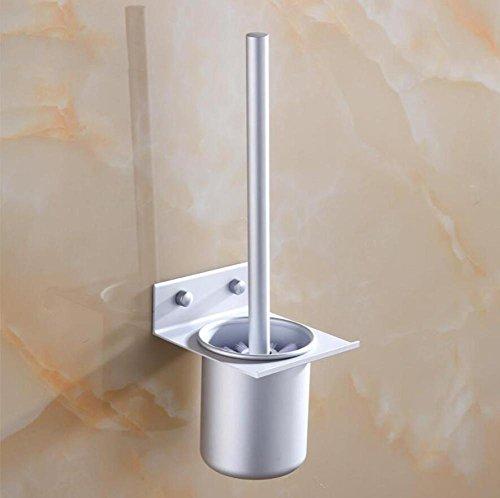 ZXY Ensemble de brosse de toilette mural, Porte-balais en alliage d'aluminium, couvercle de brosse de toilette, porte-gobelets de toilette brosse douce