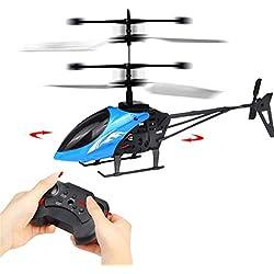Preventosamente RC Helicóptero, Mini RC Infrared Inducción Mando a Distancia RC Juguete 2 CH Gyro Helicóptero RC Drone, Azul