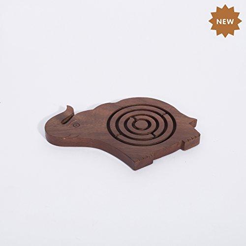 Rusticity Laberinto de Madera Juego de Puzzle - Forma Elefante | Hecha a Mano | (5.5 x 3.5 x 0.5 Pulgadas)