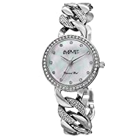 August Steiner Minimalist Dial Fashion Dress Watch - Mother of Pearl Diamond Dial With Crystal Bezel and Links on Silver Stainless Steel Bracelet - AS8190