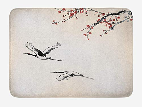 tgyew Birds Bath Mat, Branches of Japanese Cherry Tree with Flying Swallows in The Air Spring Colors, Plush Bathroom Decor Mat with Non Slip Backing, 23.6 W X 15.7 W Inches, Red Grey Ecru -