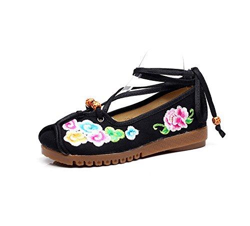 KAFEI Signora teli ricamati scarpe con i tendini sulla base testa rotonda daily Black