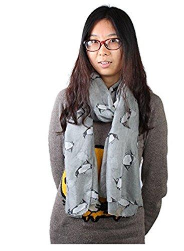 Generic encantador y Chic señoras para mujer pingüino Imprimir Gris inusual ligero bufanda envuelve mantón suave Bufandas buen regalo para su amante, familia, amigos y compañeros de trabajo