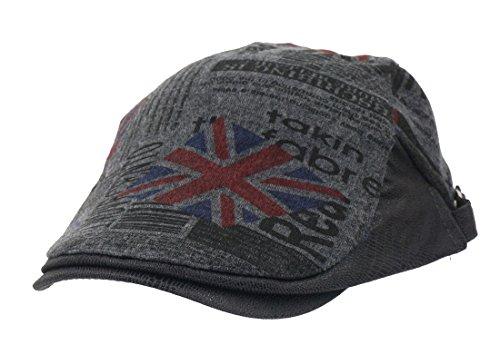 Roffatide Union Jack Flagge Schirmmütze Schiebermütze für Herren und Damen Flatcaps Newsboy Cabbie Ivy Hüte Vintage Dunkelgrau