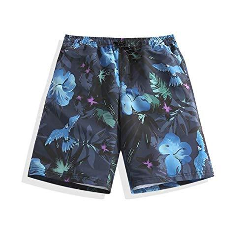 HIAO Sommer Männer Strand Shorts Polyesterfaser Sport Bequem Freizeit Urlaub Seaside Shorts Schwarz Vögel Und Blumen Muster (größe : L)