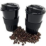 Coffee to go Becher Set - 2 Stück Mehrweg Kaffeebecher mit Deckel - umweltfreundlich wiederverwendbar und spülmaschinengeeignet für 350 ml Kaffee oder Tee Trinkbecher