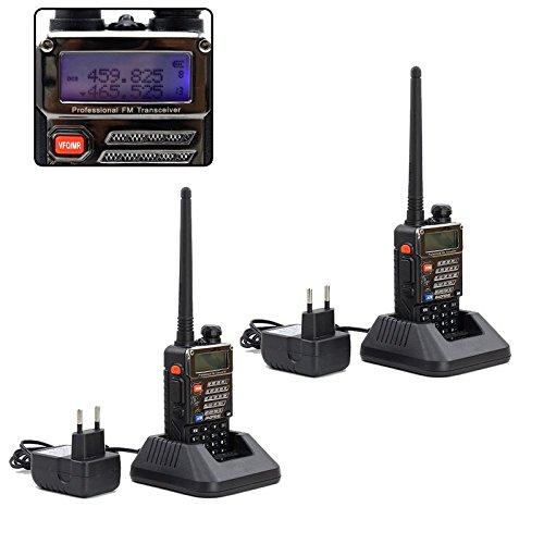 HG® 2X Baofeng UV-5R Plus Amateurfunk Handfunkgerät Funksprechgerät Tragbar UHF Radio 136-174/400-520MHz Walkie-Talkie (Cb-funk Kleine)