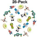 Uooker - Gomme da cancellare per matite, a tema spaziale, puzzle componibili in 3D, per bomboniere da festa, forniture per la scuola, premi, confezione da 28 pezzi, colori casuali