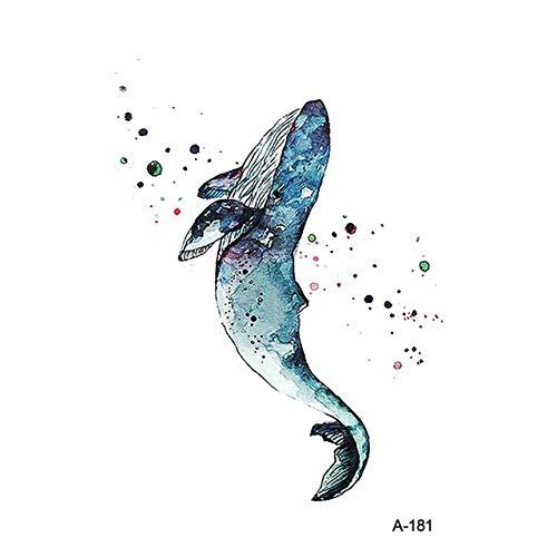 lihaohao Temporäre Tattoo-Aufkleber Tier Tier Delphin Wasserdicht Temporäre Tätowierung Aufkleber Whale Tatoo Für Erwachsene Kinder Bär Tiger Frauen Body Art Fake Tattoo 9,8X6 cm 6 Stück