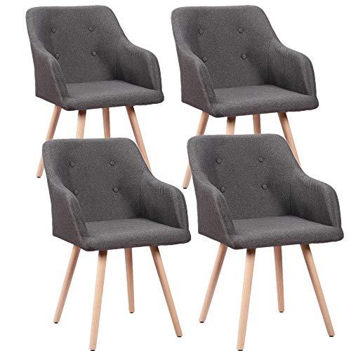 HENGMEI 4er Set Esszimmerstühle Wohnzimmerstuhl Bürostuhl mit Rückenlehne für Esszimmer und Wohnzimmer (Dunkelgrau)
