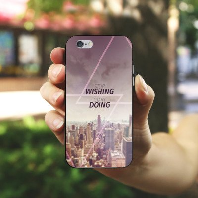 Apple iPhone X Silikon Hülle Case Schutzhülle City Wish Statement Silikon Case schwarz / weiß