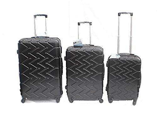 Orlac Tyre Set 3 Trolley valigie rigide in ABS e policarbonato 4 ruote piroettanti colori vari (Nero)