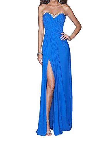 La_Marie Braut Blau Steine Chiffon Abendkleider Brautjungfernkleider Promkleider Bodenlang Etuikleider Royal Blau