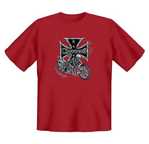 Biker & Motorrad T-Shirt geil bedruckt / Bikers Cross - Choppers ! Dunkelrot