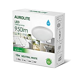 AUROLITE LED 12W IP44 Ceiling Lights, Ø 26cm, 950LM, Lighting for Bathroom, Kitchen, Hallway, Office, Corridor, Flush Ceiling Light, Bath Ceiling Light, High Quality, 1 Year Warranty (4000K)