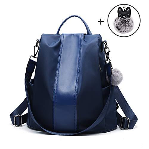 JL&LJ Damen Rucksack Handtasche Leder PU Umhängetasche Backpack Schultertasche Anti Diebstahl Tasche Wasserdichte Nylon Schulrucksack(bl)