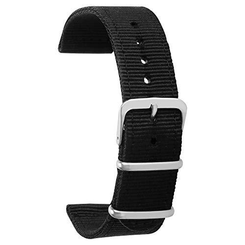 Nylon uhrenarmband 18mm Armband uhrenarmbänder schwarz für männer Frauen Premium Nylon Armband 18mm