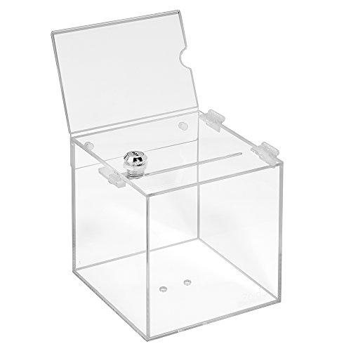 Losbox aus Acrylglas in 150x150x150mm mit Schloß und Topschild DIN A6 Quer - Zeigis® / Spendenbox/Aktionsbox / Gewinnspielbox/transparent / durchsichtig/Acryl / Plexiglas® / abschließbar/versperrbar