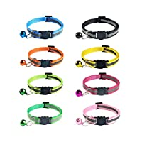 Ymwave 8 Pieces Cat Collar Reflective Nylon Cat Collar with Bell and Safety Quick Release Buckle Adjustable 19-32 cm for Domestic Cats Small Dogs