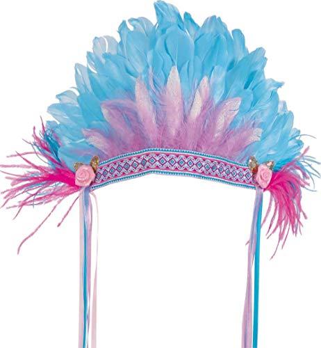 Maya Kostüm Indianer - KarnevalsTeufel Feder-Kopfschmuck in blau mit Borte und Rosen Indianer Kopfbedeckung mit Glitzer-Federn Prinzessin Inka Maya