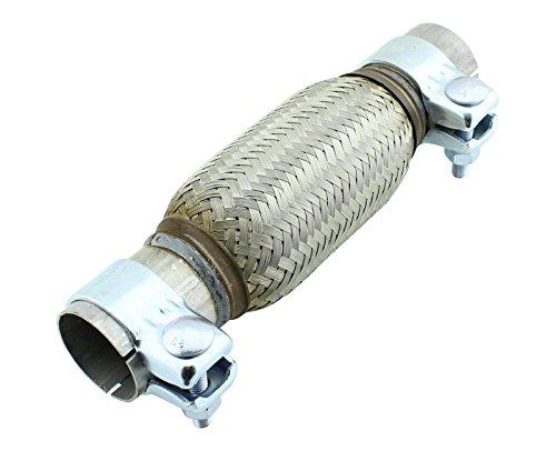 Schalldämpfer Schelle (45 x 150 mm Universal Edelstahl Flexrohr inkl. Montageschellen)
