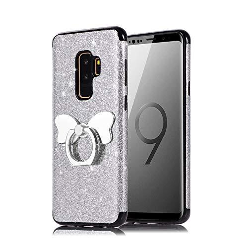 Misstars Glitzer Hülle für Galaxy S9 Plus Silber, Bling Pailletten Weiche TPU Silikon Handyhülle Anti-Rutsch Kratzfest Schutzhülle mit Schmetterling Ring Ständer für Samsung Galaxy S9 Plus