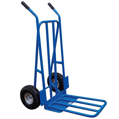 Charles Bentley - Diable pliant à roues pneumatiques - professionnel/particulier - bleu - capacité 300 kg