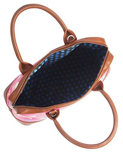 Kukubird Divers Chien Caniche Teckel Papillon Oiseau Chat Toile Mate Imprimé Floral Sacoche Bowling Sac Avec Sac À Poussière Kukubird Dachshund - Fuchsia