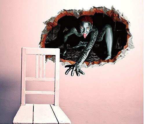 3d weiblicher bricht die Wand und betritt das Fenster, um das WandAufkleberwandbild anzuziehen