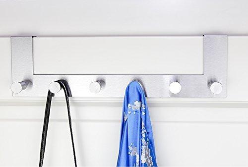 Malin´s edle Türgarderobe ? Premium Handtuchhalter fürs Bad aus rostfreiem Stahl ? hochwertige Garderobenleiste mit 6 abgerundeten Haken - Schaumgummigeschützte Hakenleiste für eine Türfalz von 2 cm