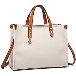 Miss Lulu Pu bolsos de cuero para mujer asas superiores bolsos de trabajo 2 piezas bolso de hombro bolso de mano bolso de mujer (Beige)