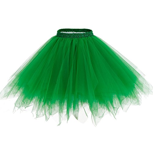 rock Tüllrock 50er Kurz Ballet Tanzkleid Unterkleid Cosplay Crinoline Petticoat für Rockabilly Kleid Green S (Tutu Kleid Für Frauen)