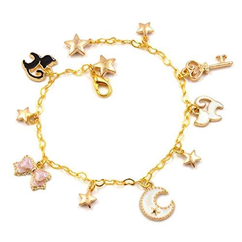 CoolChange goldfarbenes Sailor Moon Armband mit vielen kleinen Anhängern (Luna Katze Kostüm Sailor Moon)