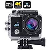 Wi-Fi 4K Waterproof Sports Action Camera - 4K Ultra HD, 16MP, 2 Inch LCD Display, HDMI Out, 170 Degree Wide Angle