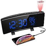 PEYOU Despertadores Digitales Proyector, FM Radio Reloj Proyector Techo con Alarmas Dobles, Medición de la Temperatura y Humedad, 7' Pantalla LED, 3 Brillos, Puerto USB,12/24 Hora, Snooze