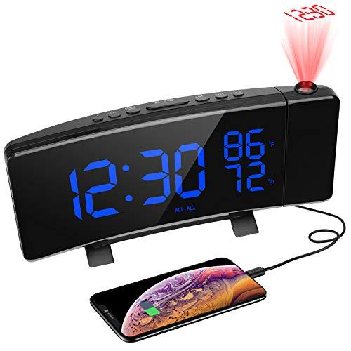 """PEYOU Despertadores Digitales Proyector, FM Radio Reloj Proyector Techo con Alarmas Dobles, Medición de la Temperatura y Humedad, 7\"""" Pantalla LED, 3 Brillos, Puerto USB,12/24 Hora, Snooze"""