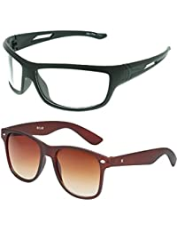 Vast Combo Of 2 Fashion All Day And Night Vision Biking, Driving And Sports Unisex Sunglasses (COMBO_B22331_BROWN_WK)