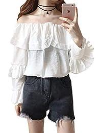 Inselfeld Damen Oberteil Bluse mit Rüschen Schulterfrei Lange Ärmel Weiß Sexy  Freizeit für ... 05f6091f0b