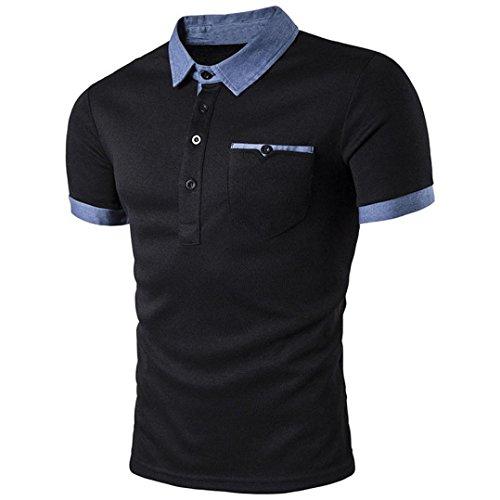 Für Nationalen Kostüm Männer Chinesischen (Herren Drehender Kragen Stitching Amlaiworld Baumwolle Kurzarm Hemd T Shirt (Schwarz,)