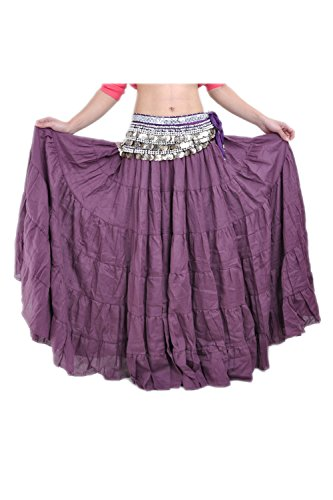 ccb6259c98e1 Suvimuga La Mujer Tribal Belly Danza Gitana Flowy Boho Maxi Falda Larga  Darkpurple One Size
