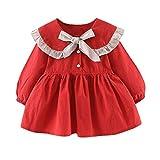 Livoral Baby Madchen Sommer Kleidung Kleinkindbaby-Kindermädchen gekräuselte geknitterte Bandbogen-Kleiderfreizeitkleidung(Rot,90)