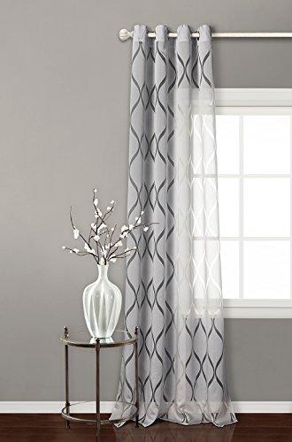 Tende trasparente con 8 ollao (1 pannello, 140 x 260) per soggiorno e camera. tenda trasparenti di 140_x_260_cm (grigio). modello helen