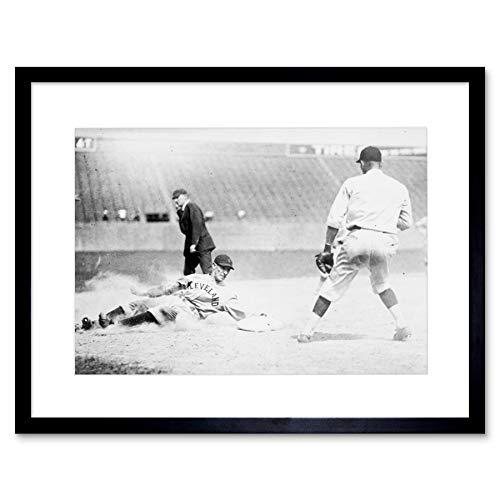 VINTAGE SPORT BASEBALL CLEVELAND FEWSTER BASE USA FRAMED ART PRINT B12X3533 - Vintage-baseball-art