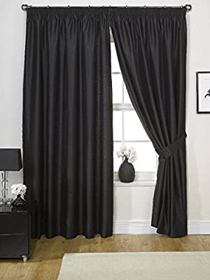 Viceroybedding Pair of Luxury FAUX SILK Pencil Pleat Curtains INCLUDING PAIR OF MATCHING TIE BACKS, by VICEROY BEDDING