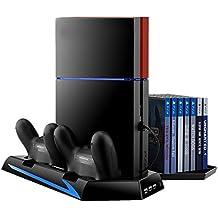 Soporte PS4 vertical, Jelly Comb Playstation 4 vertical de enfriamiento del ventilador cargo puertos de controlador USB con soporte Juego de almacenamiento de disco para la PS4 Controlador