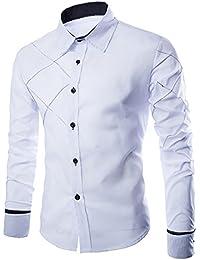 OMUUTR Hemd Herren Langarm Shirt Hemden Dünn Baumwolle Gitter Muster  Bügelleicht Slim-Fit Longsleeve Shirt Anzug Business… 590ef03105