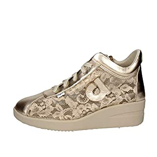 Agile by RucolineWomen Sneaker Wedge Adorned with Floral Lace Color Gold Article 226 A Lace Mulberry New Spring Summer Collection 2018 (39)