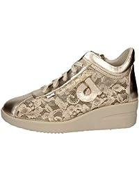 AGILE BY RUCOLINE Scarpe Donna Sneaker Zeppa Pelle E Pizzo Colore Gold 226  n° 38 3613fd1027b